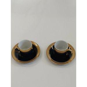 2, Horchow Cobalt & Gold Demitasse Cups & Saucers